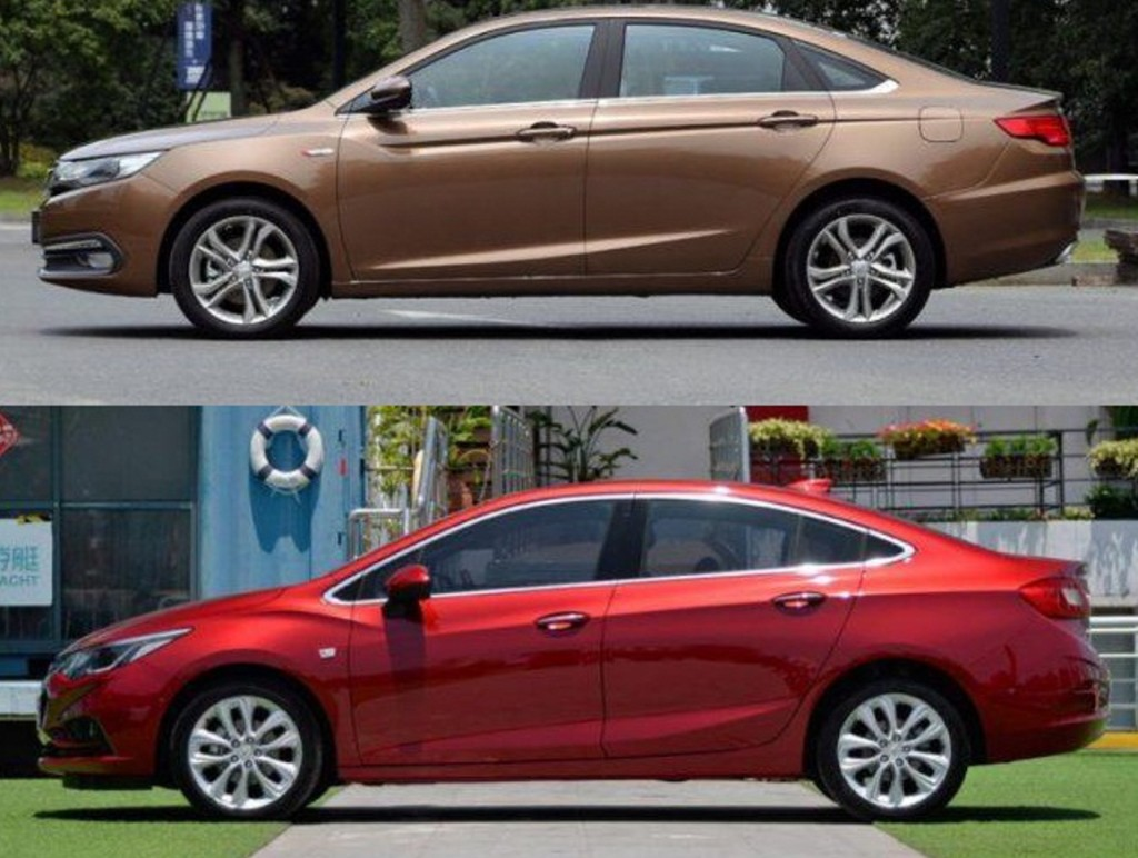 GEELY EMGRAND GL kontra CHEVROLET CRUZE  Żródła zdjęć - Car News China