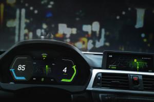 Modern sports car dashboard with navigation display - 3D illustration (3D rendering)