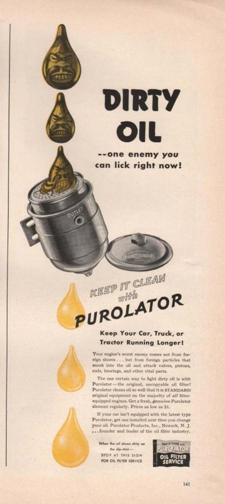 Purolator - reklama, pierwszy filtr oleju, www.motorewia.pl. Źródło: Vintageadsbrowser https://www.vintageadbrowser.com/transportation-ads-1940s/196